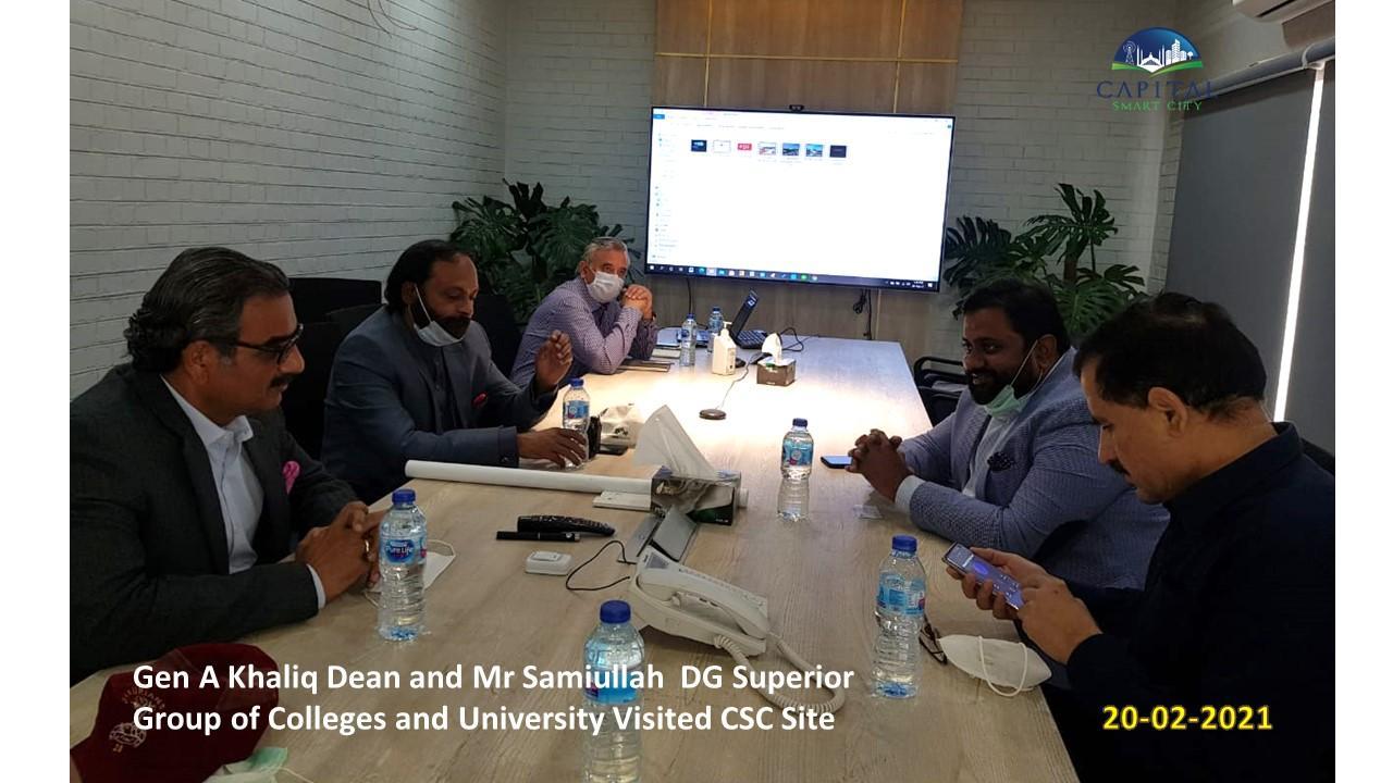 Gen A Khaliq Dean and Mr Samiullah DG Superior Gropup of colleges visited CSC site