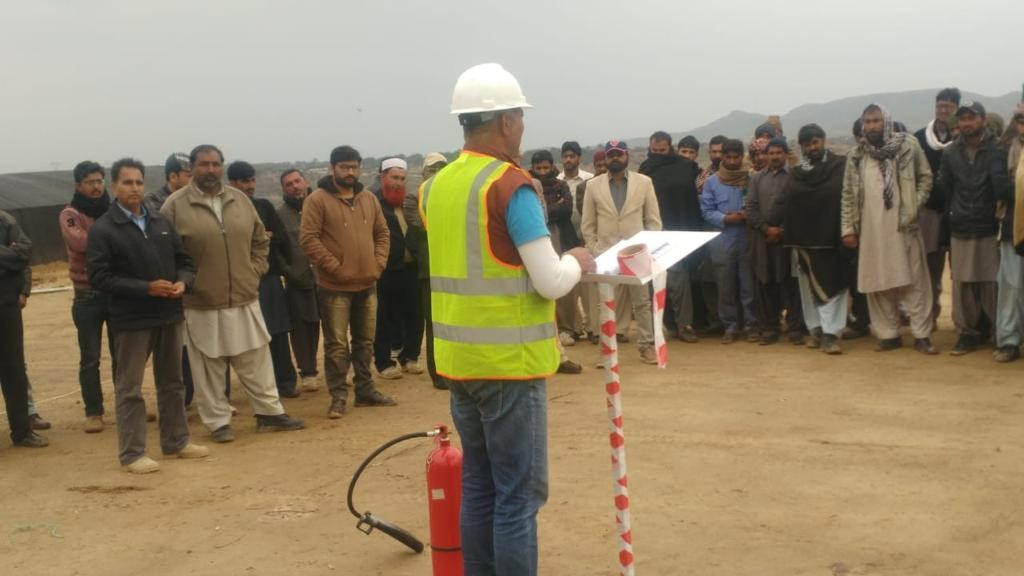 A lecture / demo on safety by Incharge Safety (Mr. Naveed) at Capital Smart City site